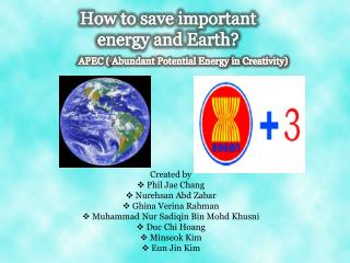 How to save important energy and Earth?