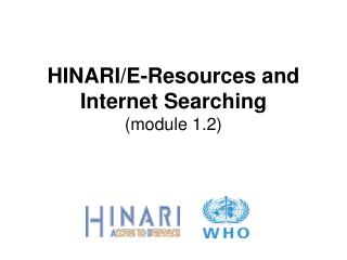 HINARIE-Resources and Internet Searching