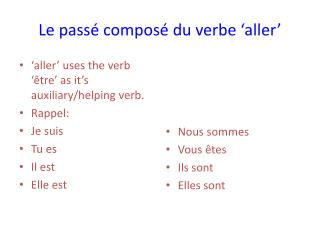 Le p assé composé du verbe 'aller'