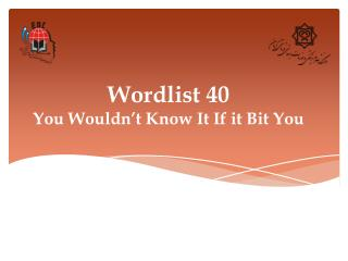 Wordlist 40 You Wouldn't Know It If it Bit You