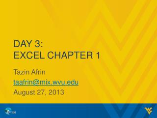 Day 3: excel chapter 1