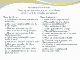 About the Globe: 	1. What  time of day were performances held? Why?