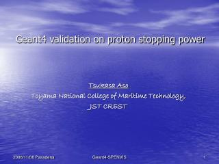 Geant4 validation on proton stopping power
