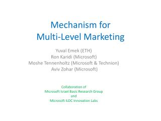 Mechanism for  Multi-Level Marketing