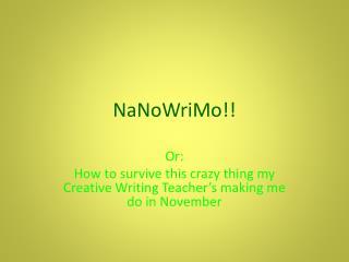 NaNoWriMo !!