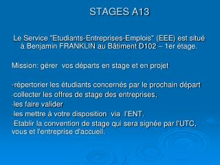 STAGES  A13