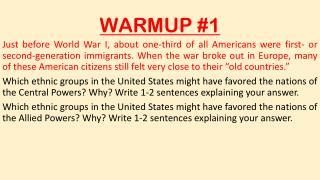 WARMUP #1