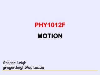 PHY1012F MOTION
