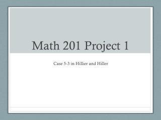 Math 201 Project 1