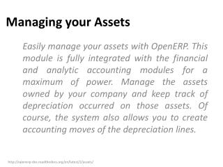 Managing your  Assets