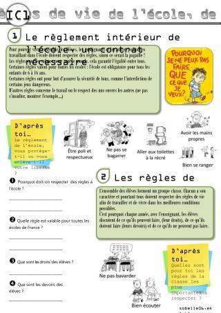 Les règles de vie  de l'école, de la classe