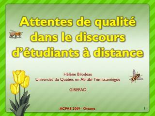 Attentes de qualité dans le discours d'étudiants à distance