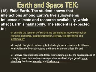Earth and Space TEK: