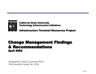 Change Management Findings   Recommendations April 2002