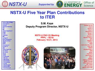 NSTX-U Five  Year Plan Contributions  to  ITER