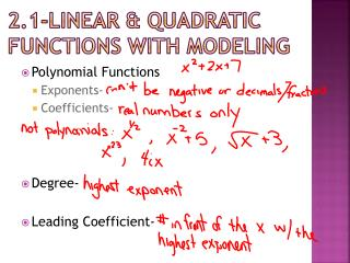 2.1-Linear & quadratic functions with modeling