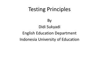 Testing Principles