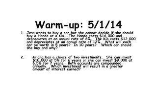 Warm-up: 5/1/14