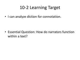 10-2 Learning Target