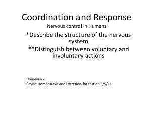 Coordination and Response Nervous control in Humans