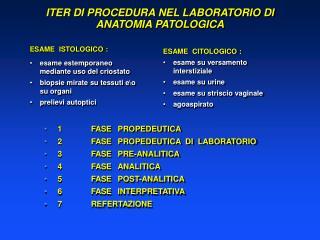 ESAME  ISTOLOGICO : esame estemporaneo mediante uso del criostato biopsie mirate su tessuti eo su organi prelievi autopt