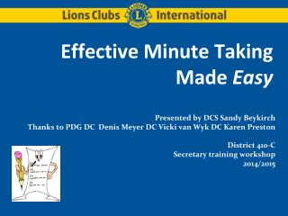 Effective Minute Taking Made  Easy