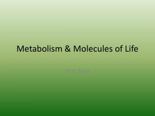 Metabolism & Molecules of Life