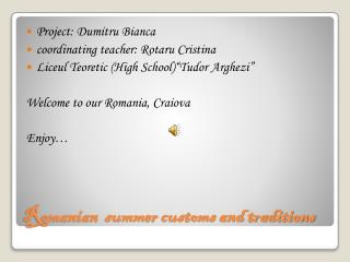 Romanian  summer customs and traditions