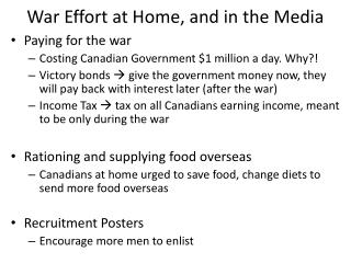 War Effort at Home, and in the Media