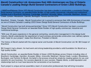 Abcott Construction Ltd. Announces their 40th Anniversary as