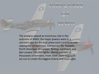 AIRPLANES OF  WWII