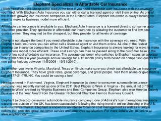 Elephant Specializes in Affordable Car Insurance