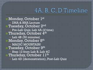 4A, B, C, D Timeline