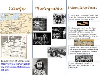 Complete list of Camps Link:  http://www.jewishvirtuallibrary.org/jsource/Holocaust/cclist.html