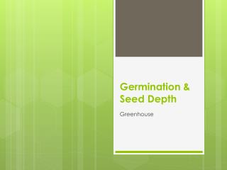 Germination & Seed Depth
