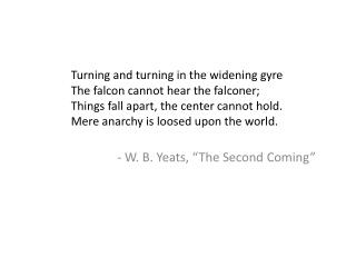 "- W. B. Yeats, ""The Second Coming"""