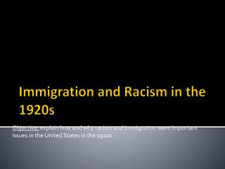 Immigration and Racism in the 1920s