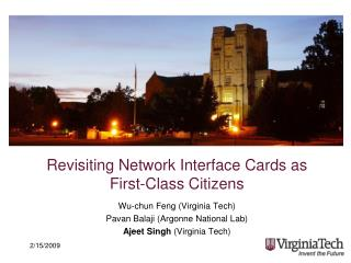 Revisiting Network Interface Cards as  First-Class Citizens