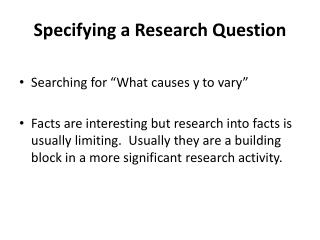 Specifying a Research Question