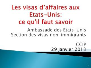 Les visas  d'affaires  aux  Etats-Unis :  ce qu'il faut  savoir