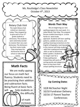Ms. Routledge's Class Newsletter October 4 th , 2013
