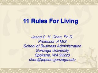 11 Rules For Living