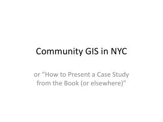 Community GIS in NYC