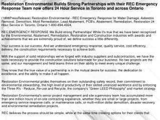 Restoration Environmental Builds Strong Partnerships with th