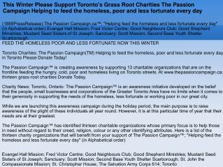 This Winter Please Support Toronto's Grass Root Charities Th