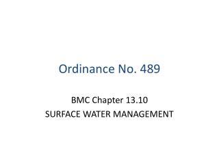 Ordinance No. 489
