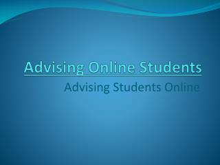 Advising Online Students