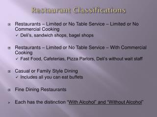 Restaurant Classifications