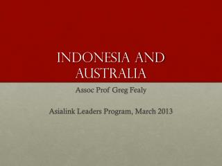 Indonesia AND AUSTRALIA