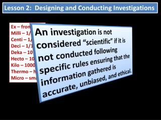 Lesson 2:  Designing and Conducting Investigations